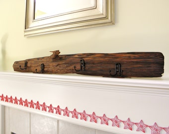 "Handmade Rustic Reclaimed Wood Coat Rack 42.5"" X 5"""