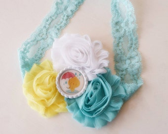 Handcrafted Itty Bitty Rainy Day Chick - Yellow Aqua and White Headband - Baby Chick Headband - Easter Headband - Cute Headband - Duck Bows