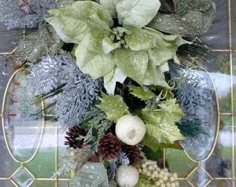 Poinsettia Door Swag - Christmas Wreath - Christmas door swag - Sage Green Wreath - Holiday Door Decorations - Home Decor - Holiday Crescent