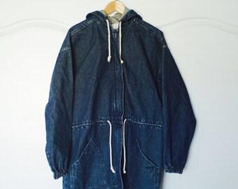 Vintage OSHKOSH Blue Denim Long Hooded Long Coat Jean Jacket Medium M