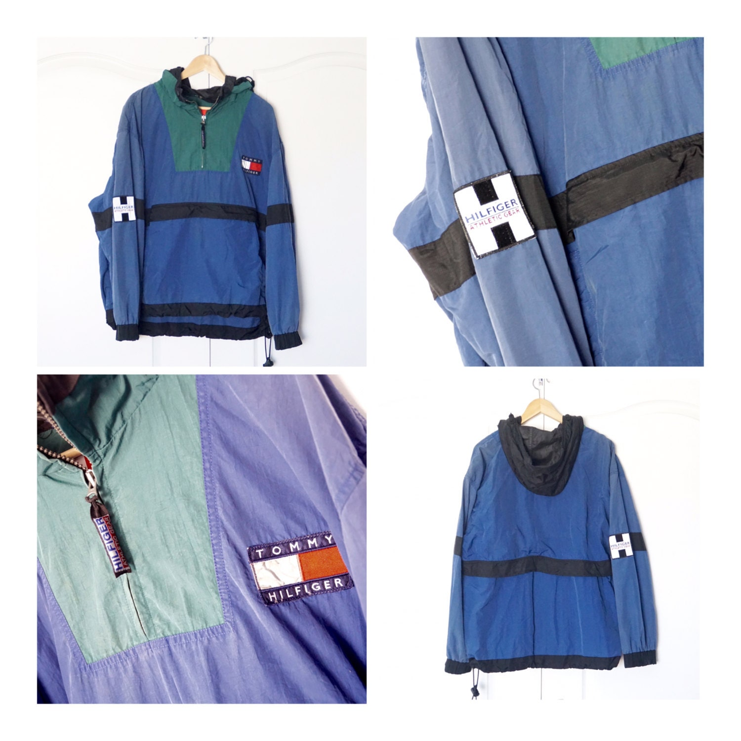 vintage 90s tommy hilfiger half zip pullover colorblock. Black Bedroom Furniture Sets. Home Design Ideas