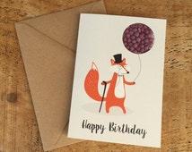 Happy Birthday Card / Foxy Birthday Card / Dapper Fox / Candy card / Sweet filled card