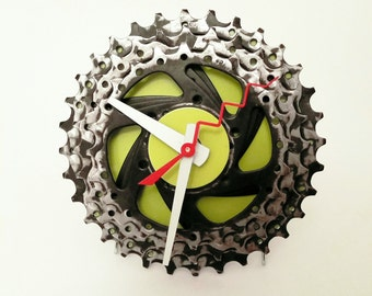 Bicycle Gear Clock - Black and Lime Green- 4.5""