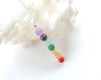 Chakra Necklace, Chakra Jewelry, Chakra Pendant with Sterling Silver Chain, Colorful Gemstone Necklace, Citrine Lapis Jade Amethyst. A165