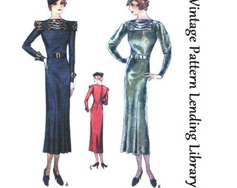 1930s Ladies Dress With Pleated Neckline & Sleeves - Reproduction Sewing Pattern #T7611