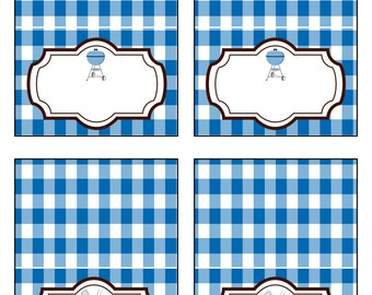 BBQ Blue Printable Food Labels-By Sweet Willow Designs