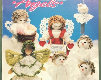 Kitchen's Angels crochet pattern booklet 602A, kitchen / shower gifts pattern, vintage Annies Attic pattern 1992