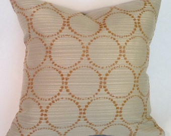 gold threaded circles pillow cover