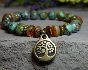 Nature Bracelet, Tree of Life Bracelet, Yoga Bracelet, Boho Bracelet, Tree Bracelet, African Turquoise, Tree Charm, Green Bracelet, Natural