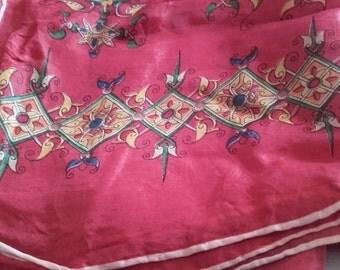Red patterned vintage scarf