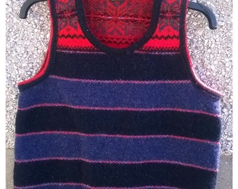 Hand made vest,made in Shetland from Shetland 100% wool. Sleeveless,Knitted top