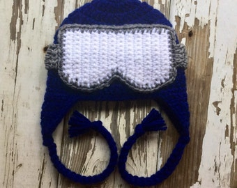 Navy Ski / Snowboard Baby Boy Earflap Hat / Ski Goggle Hat / Toddler Ski Hat / Child Earflap Hat / Ski Hat / Newborn - 5 Years MADE TO ORDER