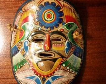 Mexican Handmade Mask - Toluca, Mexico - Handpainted Birds, Flowers - Mexican Folk Art -  Latin America - Halloween Decoration