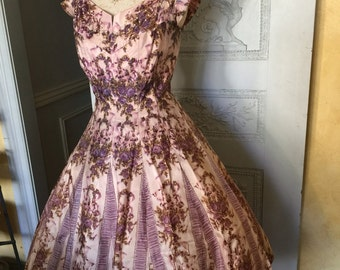 1950s Dress Vintage Floral Lavender Pink Purple Garden Tea Party 50s dress inspired 50s Holiday Party frock Gift novelty print