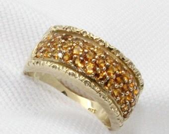 9ct Wide Citrine Dress Ring