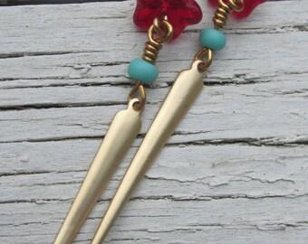 Dangling Beaded Earrings/Czech Glass Beads