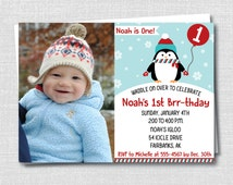 Boy Penguin Photo Birthday Invitation - Penguin Themed Party - Winter Boy Birthday - Digital Design or Printed Invitations - FREE SHIPPING