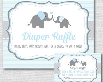 Blue Elephant Diaper Raffle Ticket - Boy Elephant Baby Shower - Diaper Raffle Ticket and Party Sign - INSTANT DOWNLOAD