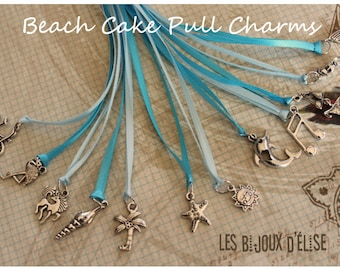 12 pcs Beach or Florida Wedding Cake Pull Charms (CP06)