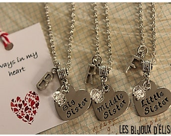 Sale - 3 pcs Personalized Big Sister Middle SIster and Little Sister Necklace Best Friends Forever Gift