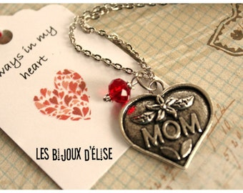 Sale - Friendship Necklace Mom Necklace Antique Silver Heart Charm Necklace with Red Crystal Mother Mommy Necklace - Gift Under 10