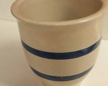 On Sale Roseville Ransbottom Blue Stripe Hand Painted Cylindrical Kitchen Crock Collectible Kitchen