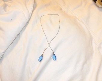 1920s Art Deco Sterling Silver Blue Cut Crystal Lariat Necklace-On Sale Now!