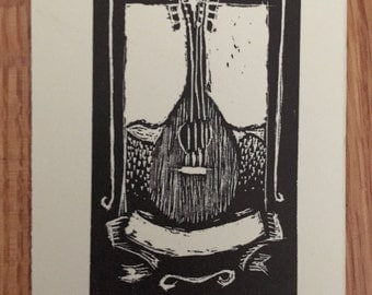 Tiny Mandolin Wood Engraving - Originals