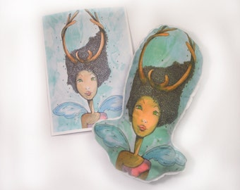 Plushie - Forest goddess plushy - plushy and print gift set. A5 illustration print. Plushy.