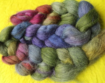 Combed tops, alpaca, hand-dyed, stained, dark