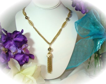 Gold Tone Tassel Pendant 3 Strand Necklace