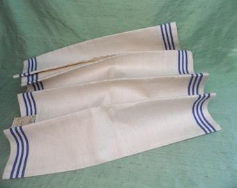 Blue striped linen toweling fabric yardage / vintage / 3 yards
