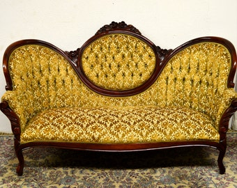 Beautiful Tufted Mahogany Carved Sofa Couch
