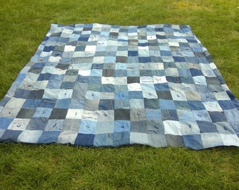 Blue Jean Denim Quilt -  Upcycled Denim Patchwork Quilt