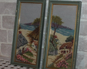 Set of 2 Framed vintage landscape needlepoint pictures,  vertical hanging wall decor, landscape tapestry, needlework