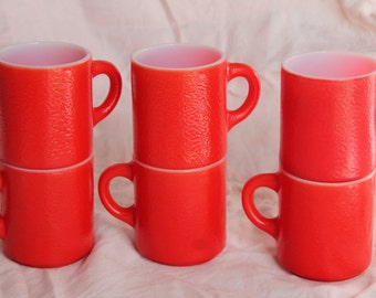 Vintage Set of 6 Stackable Orange Peel Textured Mugs in Fabulous Cherry Red