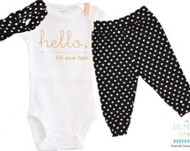 Baby Girl Coming Home Outfit: I'm New Bodysuit, Black and White Dot Legging Pant and Turban Style Headband