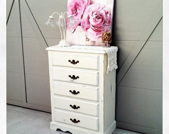 Shabby Vintage Old White Cottage Dresser