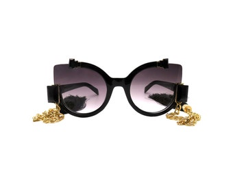 Abstract Sunglasses with Rhinestones and Satin Tassels - CHINE Black