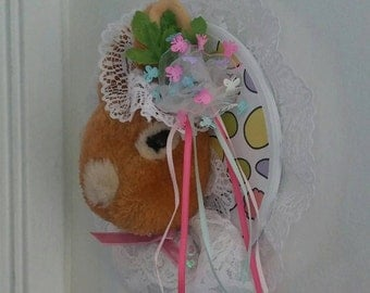 """Rabbit/Bunny/Faux Taxidermy """"Eva"""" Bonnet/Little Girls/Room Decor/Wood/Paper/Lace/Door/Decoration"""