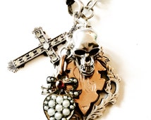 Heavy Silver Antique Albert Chain Skull and Fob Necklace - 'Hard Rock'