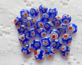 27  Royal Blue Red & White Flower Millefiori Rounded Button Lampwork Glass Beads  8mm