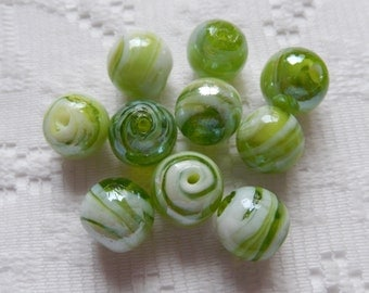 10  Lime Green & White Swirled Luster Round Lampwork Glass Beads  12mm