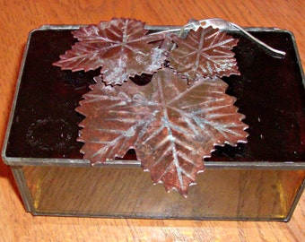 Vintage Stain Glass Trinket Box with Leaves on Top