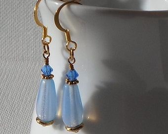 Sale - Hand Made Gold Tone Earrings Swarovski Components & Blue Teardrop Beads