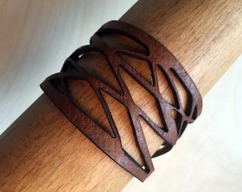 Laser cut Shredded Leather Cuff