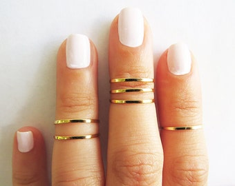 Gold ring, Stacking rings, Knuckle Rings, Gold shiny bands, Set of 6 stack midi rings, Gold jewelry, Wire ring, Gold accessories