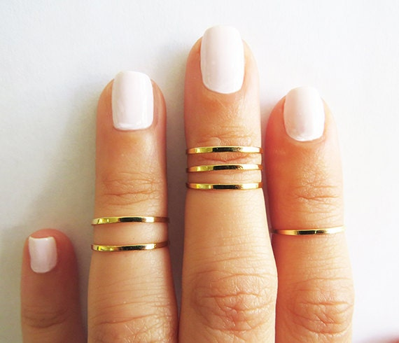 Gold ring Stacking rings Knuckle Rings Gold shiny bands