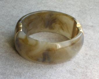 Vintage Wide Bracelet Cuff Clamper Goldtone Decorative Findings Taupe Brown Marbled