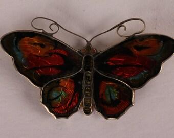 David Andersen Butterfly Brooch made of sterling silver and enamel in Norway